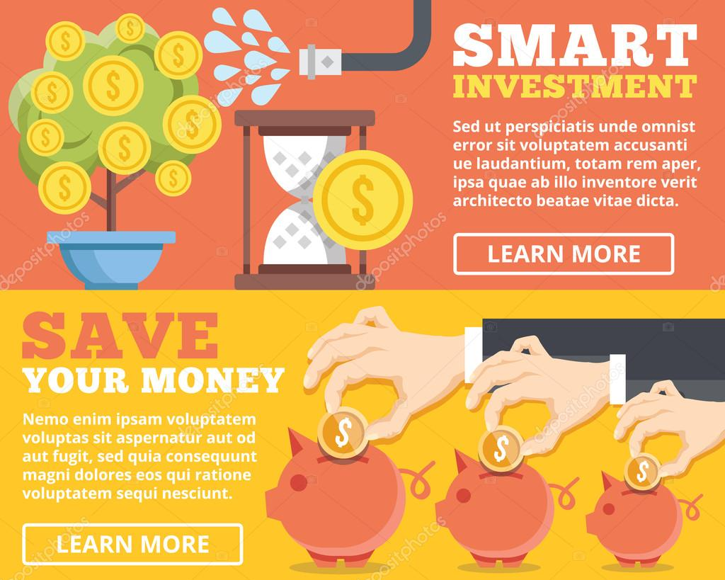 Smart investment, save your money flat illustration concepts set