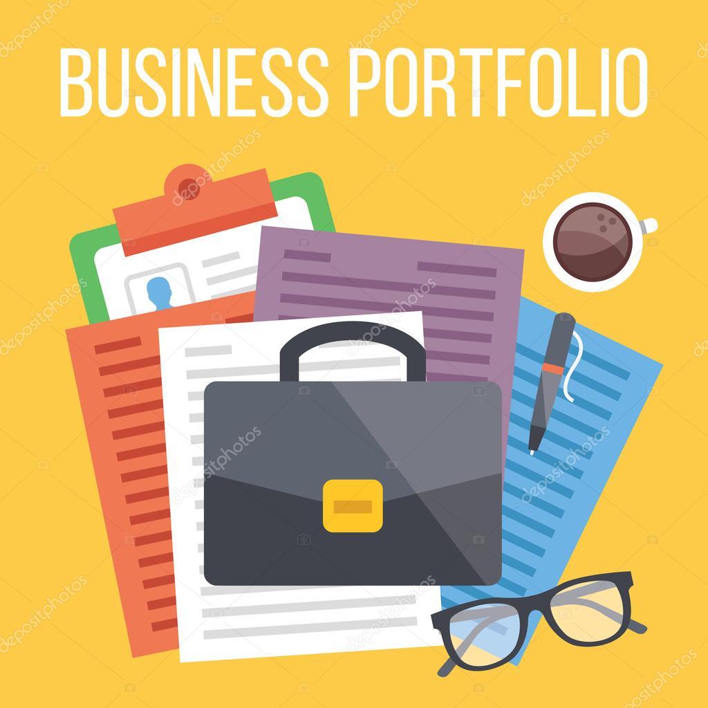 Business portfolio flat illustration