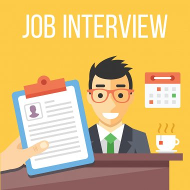 Job interview flat illustration. Flat design concepts for web banners, web sites, printed materials. Creative vector illustration stock vector