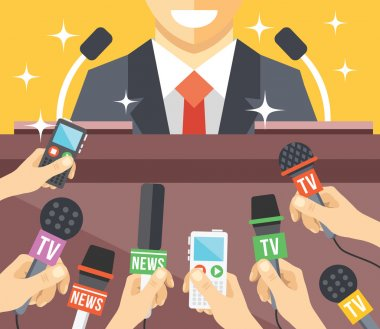 Press conference event flat illustration. Flat design concepts for web banners, web sites, printed materials. Creative vector illustration stock vector