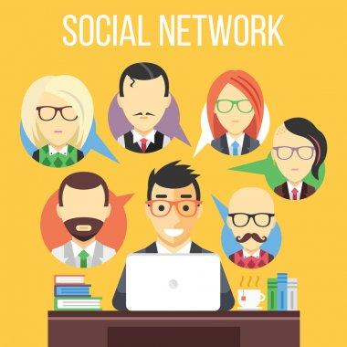 Social network communication flat illustration