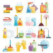 Fényképek Háztartási kellékek, takarítás lapos ikonok beállítása