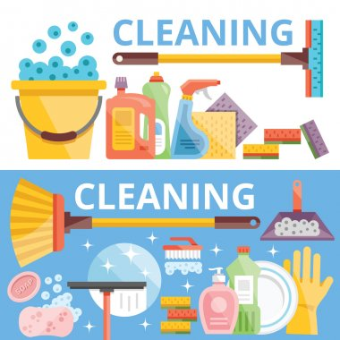 Cleaning flat illustration concepts set