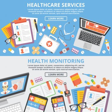 Healthcare services, health monitoring, research flat illustration concepts set. Modern flat design concepts for web banners, web sites, printed materials, infographics. Creative vector illustration clip art vector