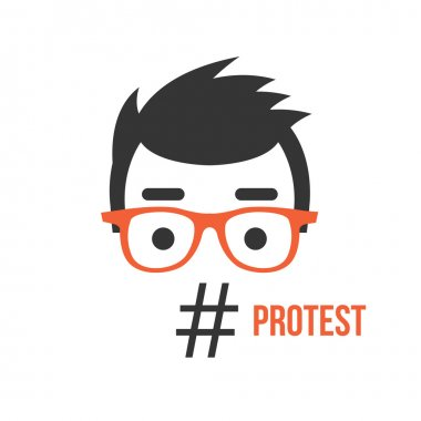 Protest, social network flashmob activity flat illustration concept