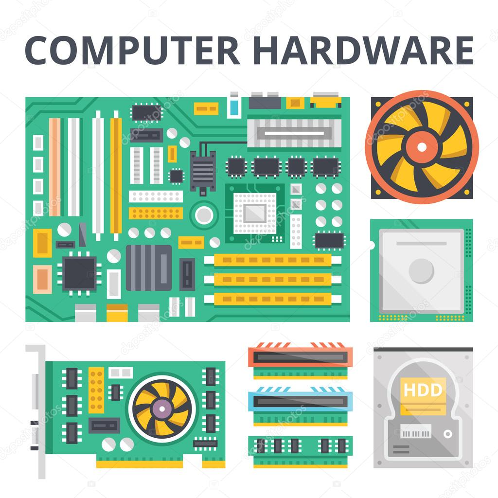 Computer hardware flat illustration concepts and flat icons set flat design graphic concepts for web banners web sites printed materials infographics