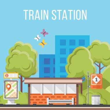 Train station. Flat vector illustration