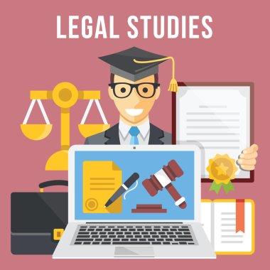 Legal studies flat illustration concept