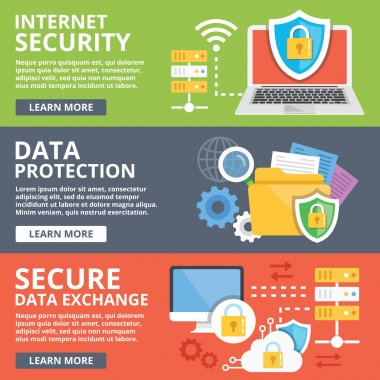 Internet security, data protection, secure data exchange, cryptography flat illustration concepts set