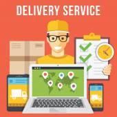 Zásilková služba a courier pozemku kolekce plochý ilustrace pojmy