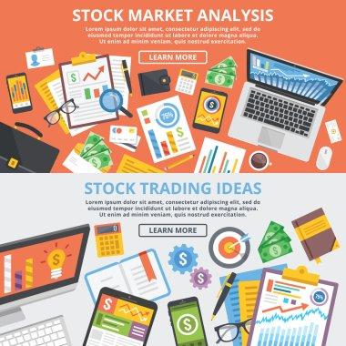 Stock market analytics, stock trading ideas flat illustration concept set