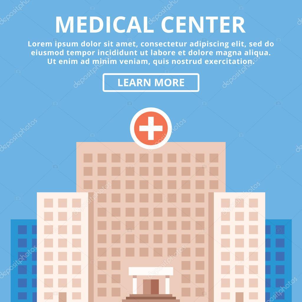 Medical center, modern clinic, hospital building. Simple flat design concept