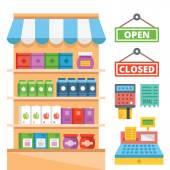 Regálech supermarketů a hokynářství vybavení bytu ilustrace koncept
