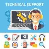 Technická podpora plochý ilustrace a ploché technické podpory ikony