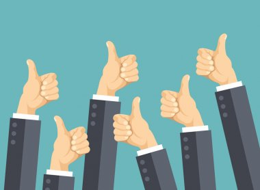 Many thumbs up. Social network likes, approval, customers feedback concept