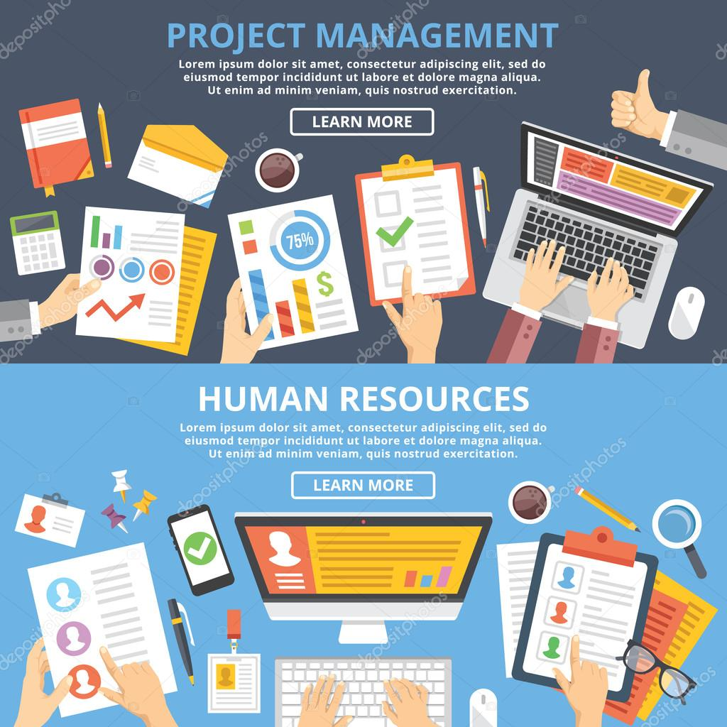 Project management, human resources flat illustration concepts set. Top view