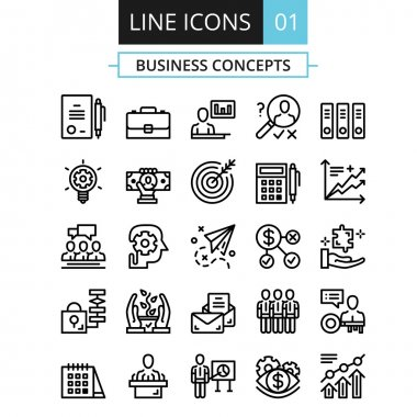 Thin line icons set. Flat design concept for business, digital marketing, team management, business presentation, corporate strategy, progress