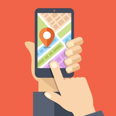 Hand holds smartphone with city map gps navigator on smartphone screen