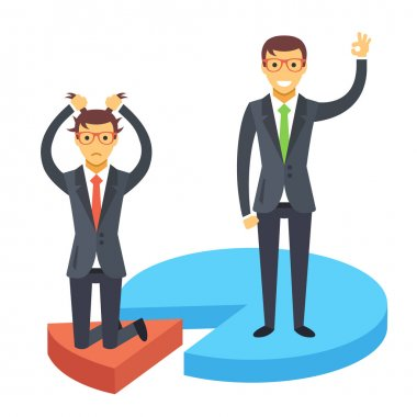 Happy and disappointed businessmen standing on chart pieces. Business success and failure. Flat illustration
