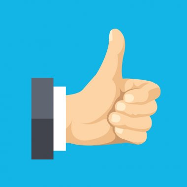 Thumbs up flat icon. Social network like concept. Vector flat illustration