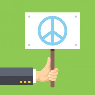 Hands holds sign with Peace sign. Peace, pacifism, no war. Flat vector illustration
