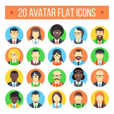 20 avatar flat icons. Male and female faces