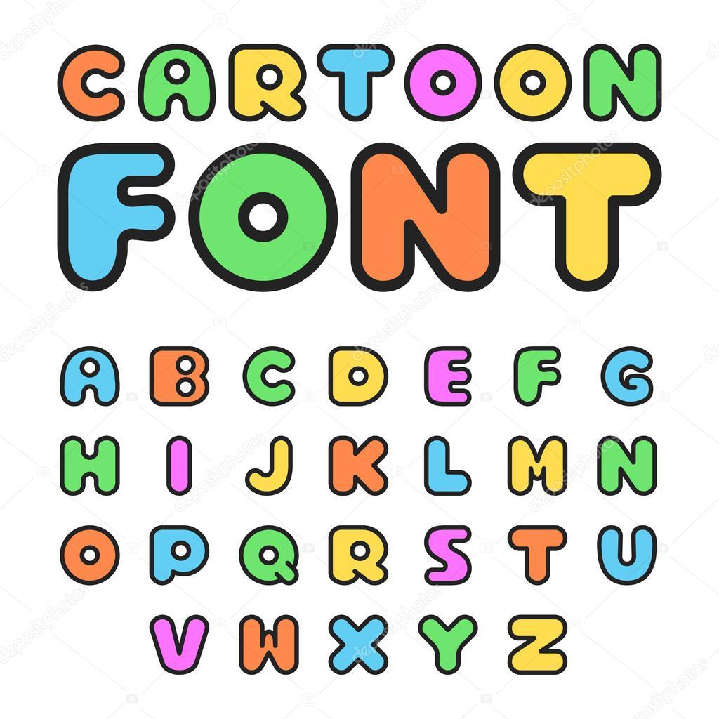 カラフルな漫画フォントです。かわいいベクター アルファベット