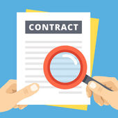 Photo Contract review flat illustration. Hand with magnifier over contract page