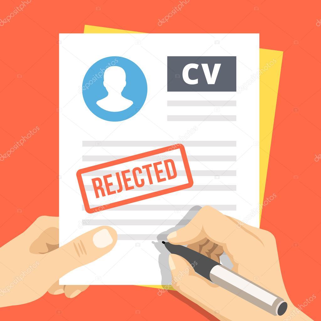 Rechazo de la CV. Mano con pluma de firmar una solicitud de empleo ...