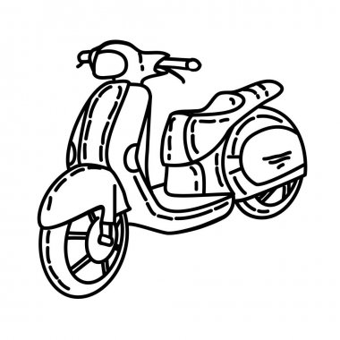 Scooter Outline Hand Drawn Icon Set Vector icon