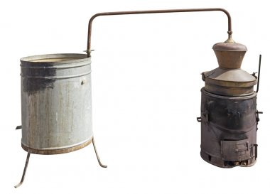 Old Copper boiler used to obtain a traditional brandy, isolated with Clipping Pat stock vector