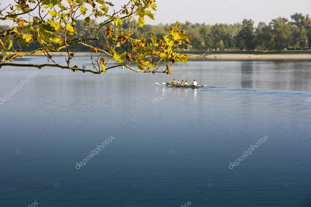 Rowing in the calm lake