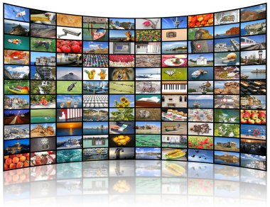 Video wall of TV screen