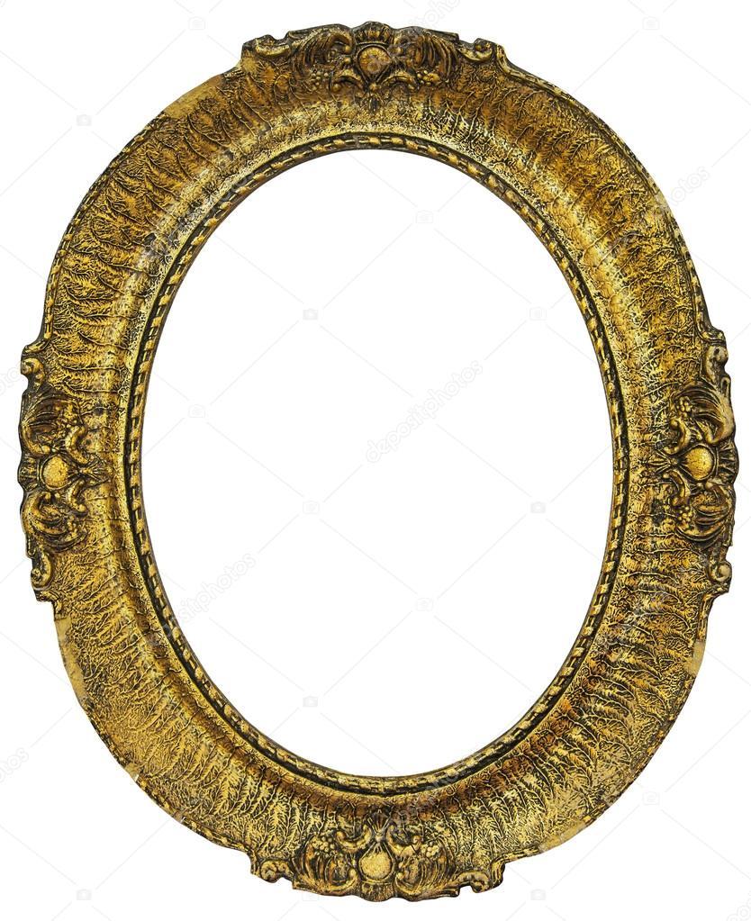 Marco dorado de madera oval — Fotos de Stock © smuki #91918432