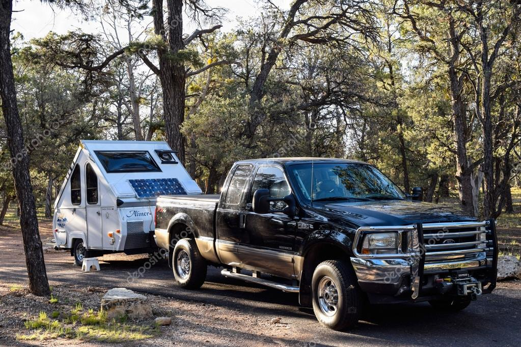 Teardrop Camping Trailer At Grand Canyon National Park Usa Stock