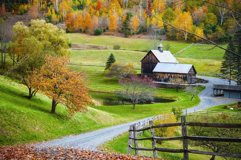 New England countryside, farm in autumn landscape