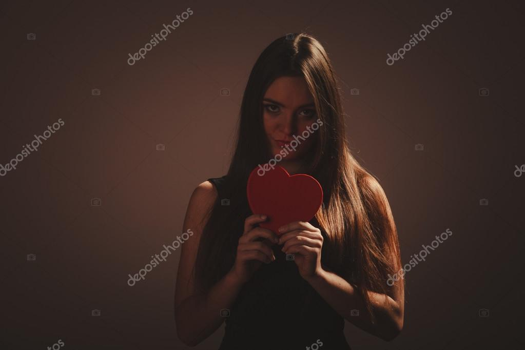 Sad Woman With Valentines Box Stock Photo Voyagerix