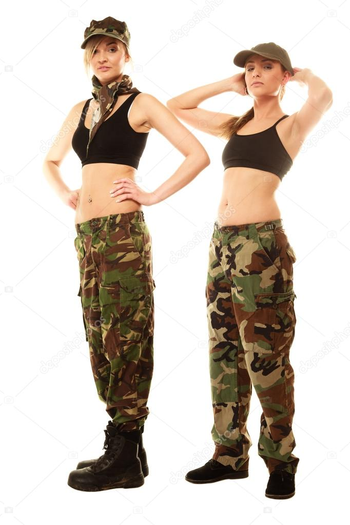 two women in military clothes army girls isolated — Stock Photo ... 3c61a077a2