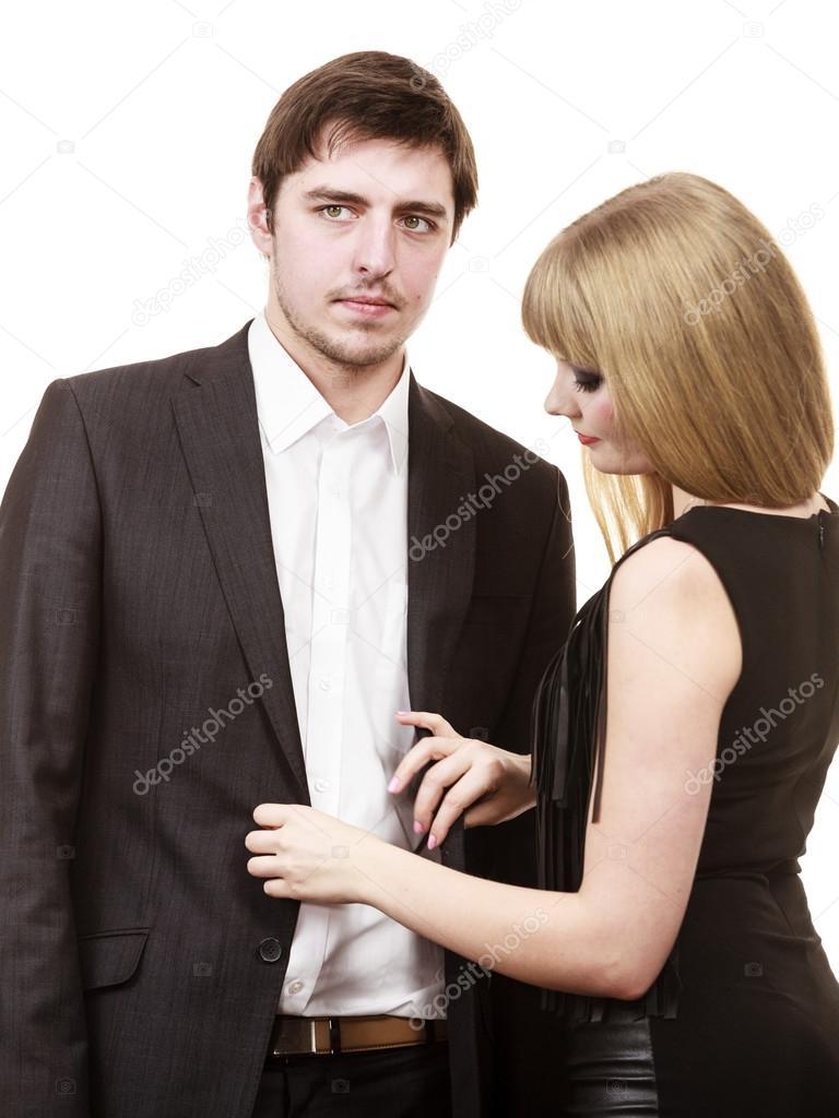 mujer a hombre de vestir ropa elegante u fotos de stock