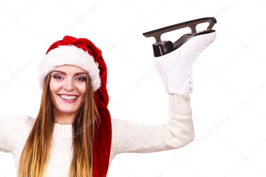 afc846613d2 woman santa claus with ice skates — Stock Photo © Voyagerix  122749454