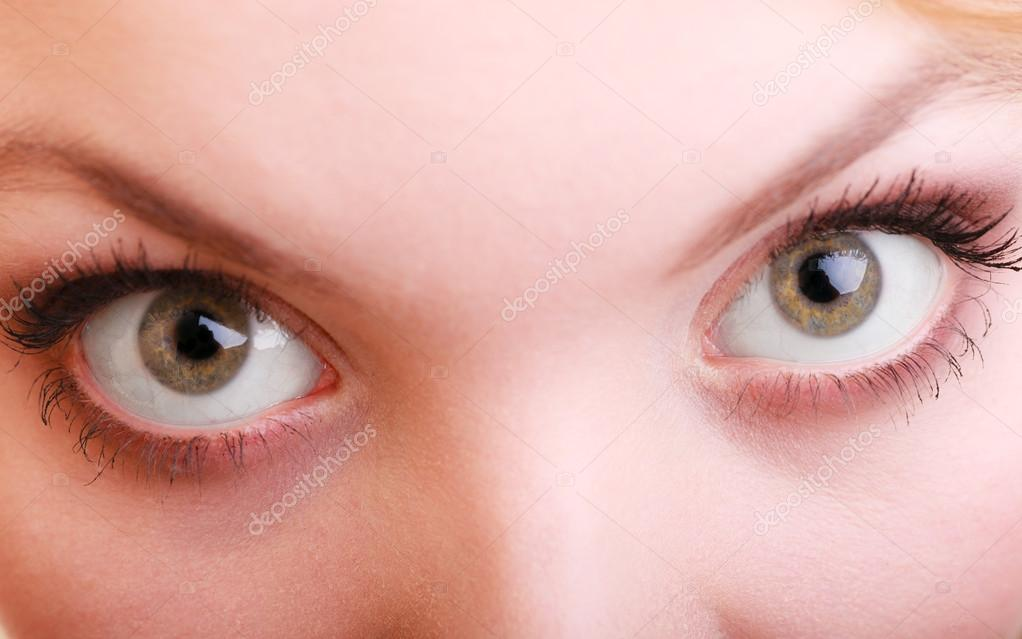 Part of face female eyes wide open. Blonde emotional girl wide eyed — Photo  by ...