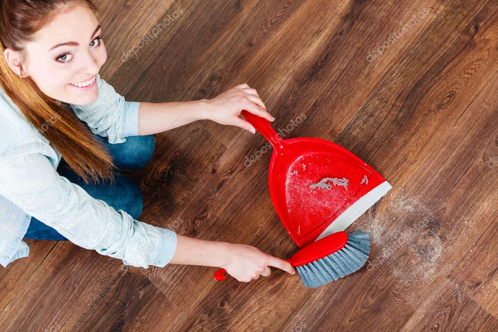 Woman Sweeping Wooden Floor Stock Photo Voyagerix 70949147