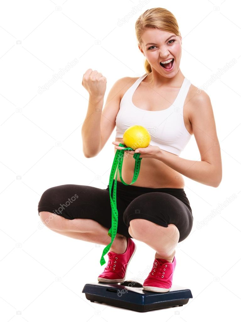 Happy Successful Woman Weighing Scale Weight Loss Stock Photo 74071461