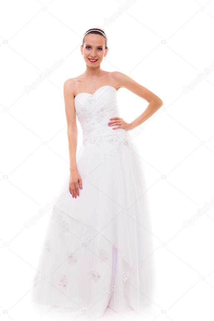 bride in white wedding gown posing — Stock Photo © Voyagerix #78471542