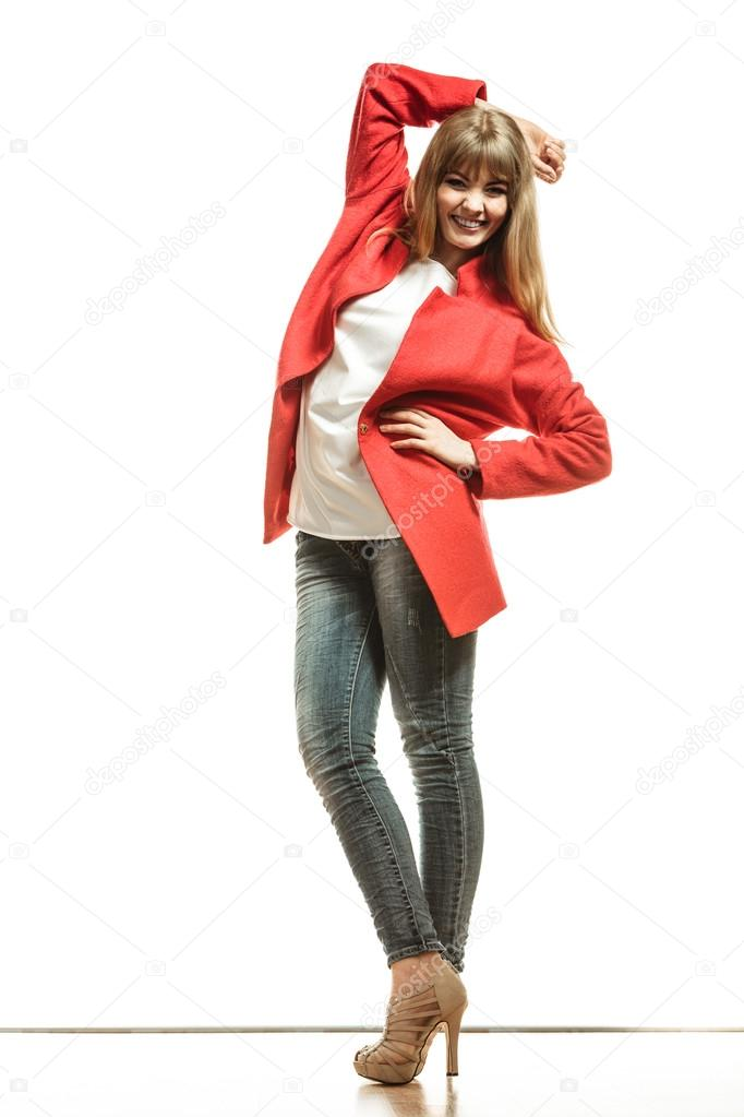 Full length fashion woman in red coat. — Stock Photo © Voyagerix ...