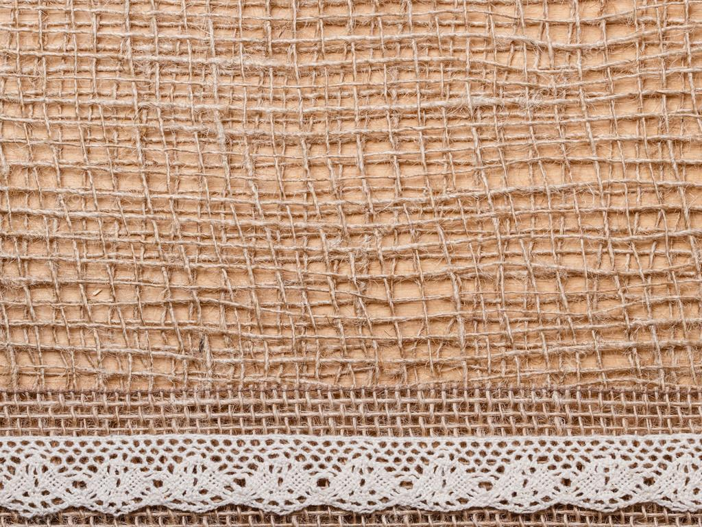 Lace And Jute Bagging Ribbon On Brown Mesh Material Natural Burlap Background Photo By Voyagerix