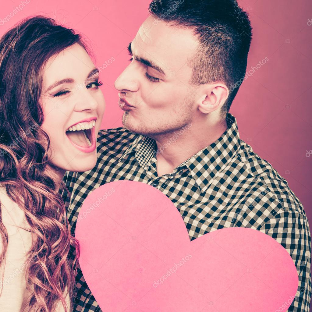 Man And Woman Holding Heart Symbol Stock Photo Voyagerix 82877008