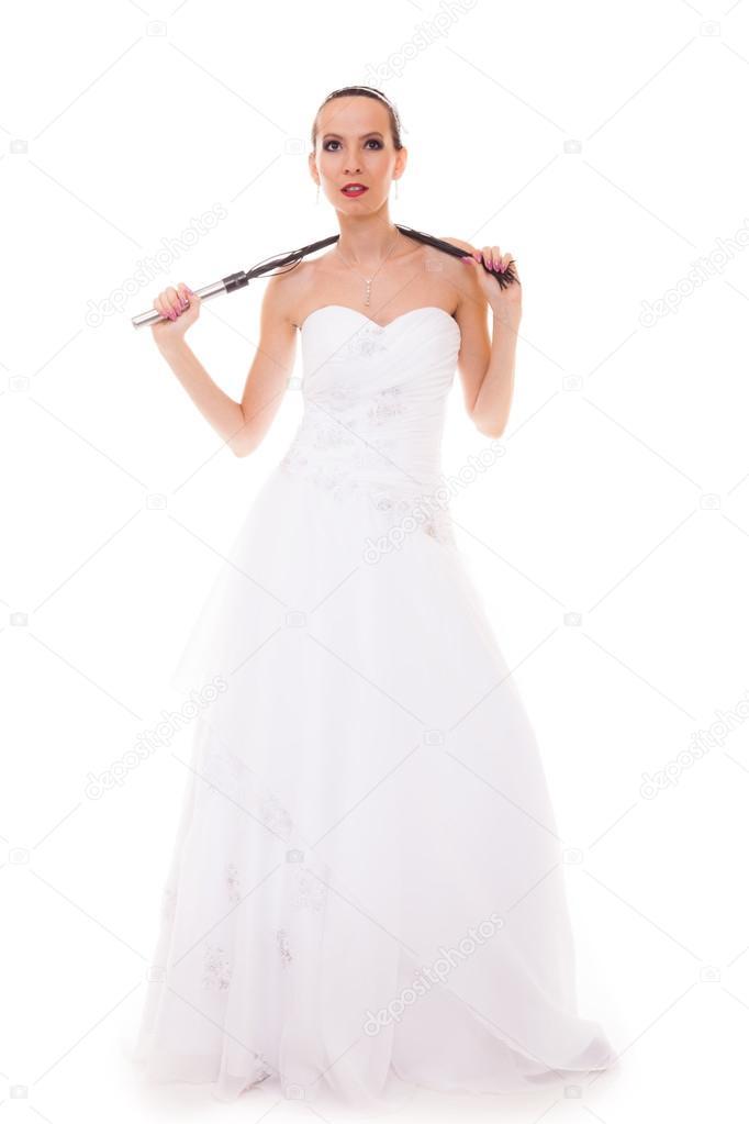 Vestido De Novia Blanco Tiene Azote Azotes De Cuero Negro