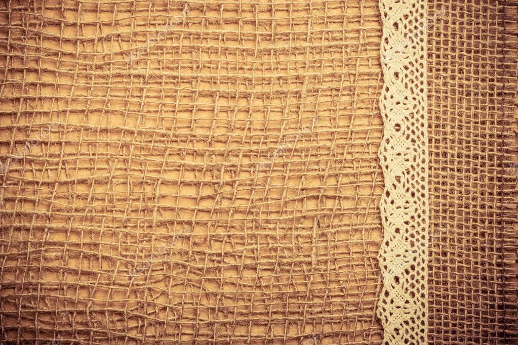 Marco de encaje de tela de arpillera — Fotos de Stock © Voyagerix ...