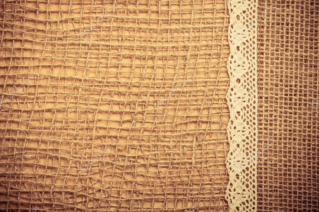 Marco de encaje sobre fondo de tela de arpillera — Fotos de Stock ...